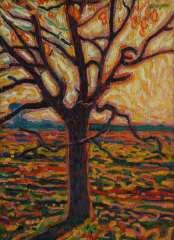 Gestel L. - Baum im Herbst, Öl auf Leinen auf Holzfaserplatte 52,4 x 38,5 cm, signiert r.u.und datiert ca. 1909-1910