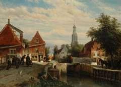 Springer C. - Sommer-Gesicht auf der Staaleversgracht in Enkhuizen, Öl auf Tafel 36,2 x 50 cm, signiert u.l.und datiert 1866