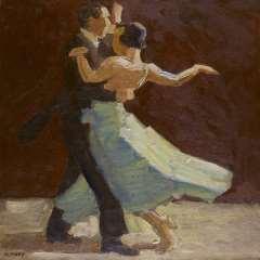 Maks C.J. - Aus den Kulissen : Tanzpaar, Öl auf Leinen 62,6 x 62,5 cm, signiert l.u.