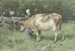 Mauve A. - Die doppelte Aufgabe, Aquarell auf papier 23,8 x 34 cm, signiertr.u.und zu datieren um 1875