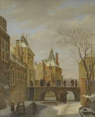Hove B.J. van - Schlittschuhläufer am 'Grenadierspoort' im Haag, Öl auf Holzfaserplatte 47,4 x 38,1 cm, signiert u.r.und datiert 1823