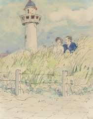 Kamerlingh Onnes H.H. - Pärchen in den Dünen von Egmond aan Zee, Feder, Tusche und Aquarell auf Papier 25,7 x 21 cm, signiert r.u.und datiert '74