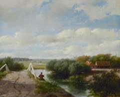 Schelfhout A. - Sommerlandschaft mit Angler bei Haarlem, öl auf Leinen 46,6 x 70,2 cm, signiert l.u.