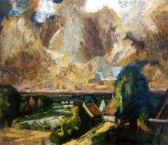 Chabot H. - Polder mit Gewächshäusern, Öl auf Leinen 72,4 x 83,6 cm, signiert u.l.und datiert '45