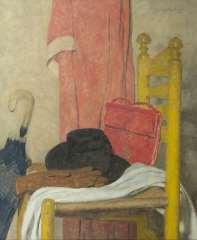 Wouters W.H.M. - Stilleben mit Hut, Regenschirm, Tasche und Handschuhen, Öl  auf Leinen 75,3 x 62,3 cm, signiert u.r.