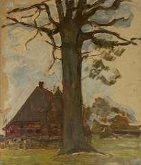 Mondriaan P.C. - Baum mit Bauernhof, Öl auf Holzfaserplatte auf Tafel 75,5 x 64 cm, zu datieren um 1906-1907