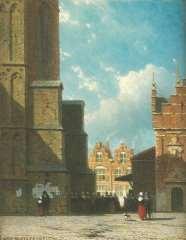 Weissenbruch J. - Der Grote Markt in Haarlem mit der St. Bavokirche und der Fleischhalle, Öl auf Holzfaserplatte 19 x 14,9 cm, signiert u.l.