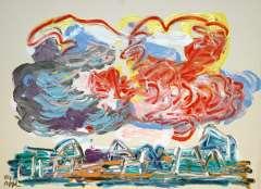 Appel C.K. - Wolken über Häuser, Acryl auf Papier 56,5 x 76 cm, signiert u.l.und gedateerd '84