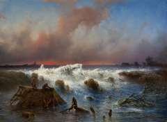 Hilverdink J. - Dammbruch im Grebbedeich am 5. März 1855, Öl auf Leinen 37,1 x 50,1 cm, signiert r.u.und datiert 1855