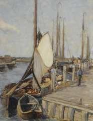 Arntzenius P.F.N.J. - Der Hafen zu Elburg mit angelegten Fischerbooten, aquarel op papier 56,9 x 43,5 cm, signiert r.u.