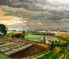 Melgers H.J. - Polderlandschaft in der Nähe von Amsterdam in regen, Öl auf Leinen 60,2 x 70,3 cm, signiert l.u. und verso