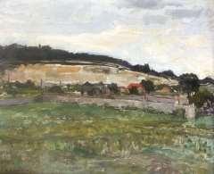 Mondriaan P.C. - Landschaft bei Montmorency, Öl auf Leinen 46,3 x 55,2 cm, signiert l.u.und verso datiert 8 aug. '30
