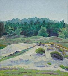 Vilmos Huszár - Landschaft bei Hulshorst, Öl auf Leinen auf Tafel 38,4 x 34,3 cm, gesigneerd l.o.