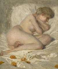 Haverman H.J. - Sclafefender weiblicher Akt, Öl auf Leinen 30,5 x 25,7 cm, signiert u.r.