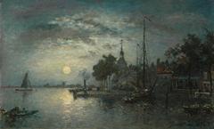 Jongkind J.B. - Clair de Lune, Dordrecht, Öl auf Leinen 39 x 36,2 cm cm, signiert r.u.und datiert 1872