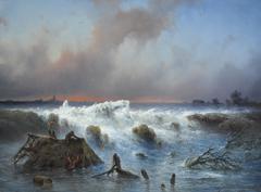 Hilverdink J. - Dammbruch im Grebbedeich am 5. März 1855, Öl auf Tafel 37.1 x 50.1 cm, signiert r.u.und datiert 1855