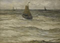 Mesdag H.W. - Einläufende Bark, Aquarell auf Papier 53 x 73.5 cm, signiert r.u.