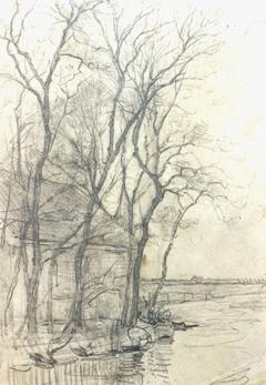 Mondriaan P.C. - Farm near Duivendrecht; detailed examination of a barn, Bleistift auf Papier 16,6 x 11,7 cm cm, zu datieren ca. 1905