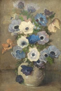 Wandscheer M.W. - Anemonen in Vase, Öl auf Leinen auf Holzfaserplatte 60,7 x 41 cm