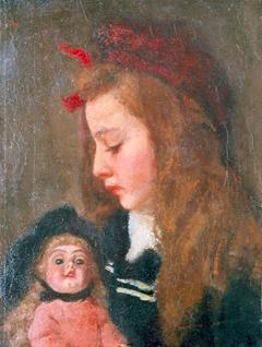 Wandscheer M.W. - Henriëtte Thueré mit einem pop, Öl auf Leinen 41,4 x 31,5 cm, signiert u.l.