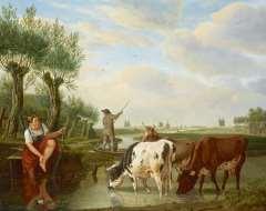 Kuytenbrouwer M.A. - Fährmann und trinkendes Vieh in holländicher Flusslandschaft, Öl auf Leinen 38,8 x 47,3 cm, signiert r.u.