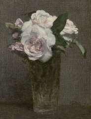 Fantin-Latour I.H.J.T. - Rozen in recht glas, olie op doek 28,3 x 21,8 cm, gesigneerd r.o.und gedateerd '72