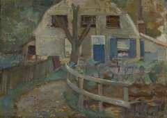 Mondriaan P.C. - Bauernhäuschen mit Mansardendach, Öl auf Leinen 32,7 x 46,2 cm, signiert l.u.und datiert um 1905-1907