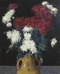 Wouters W.H.M. - Chrysanthemen, Öl  auf Leinen 65,1 x 53 cm, signiert r.u.