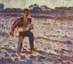 Altink J. - Der Säer bei Gegenlicht, Wachsfarbe auf Leinen 55 x 63,6 cm, signiert '25und datiert '25