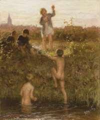 Blommers B.J. - Badende Knaben, Öl auf Leinen 48,2 x 40,4 cm, signiert r.u.und zu datieren ca. 1895-1907