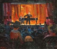Bieling H.F. - Das Cabaret Artistique von J.L.Pisuisse, Öl auf Leinen 46,2 x 53,5 cm, signiert l.u.