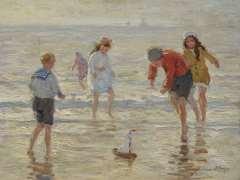 Viegers B.P. - Spaß am Strand, Öl auf Leinen 36,6 x 46,6 cm, signiert u.r.