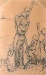 """Blommers B.J. - Studie für """"Zum Vater winken"""", Feder und Tinte auf Papier 34,5 x 22 cm, signiert r.u."""