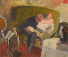 Galema A. - Herr mit Dämchen, Öl auf Leinen 53,5 x 63,3 cm