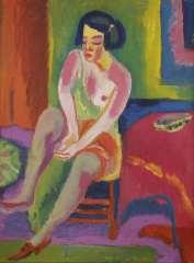Wiegers J. - Sitzender weiblicher Akt, Wachsfarbe auf Leinen 70,4 x 55,4 cm, signiert M.u.und datiert '25