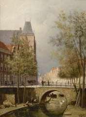 Dommelshuizen C.C. - Blick auf die Oudegracht mit  Stadtschloß Oudaen, Utrecht, Öl auf Leinen 28,3 x 21,3 cm, r.u. mit Initialenund gedateerd '94