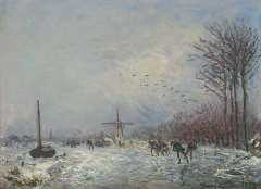 Jongkind J.B. - Holländischer Kanal mit Schlittschuhläufern, Öl auf Leinen 25,2 x 35,3 cm, signiert u.r.und datiert 1873