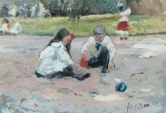Voorden A.W. van - Kinder spielen im park, Öl auf Holzfaderplatte 22,5 x 32,5 cm, u.r. mit initialen