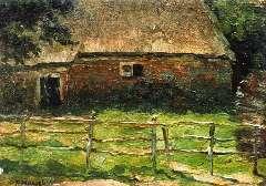Mondriaan P.C. - kleine Farm hinter einem Zaun, Öl auf Leinen auf Holzfaserplatte 20,5 x 29,1 cm, signiert u.l.und te dateren ca. 1904