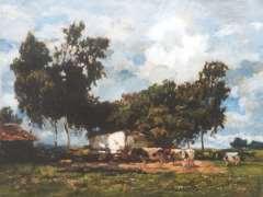 Zwart W.H.P.J. de - Bauernhaus mit Kühen, Öl auf Leinen 50,1 x 65,2 cm, signiert r.u.