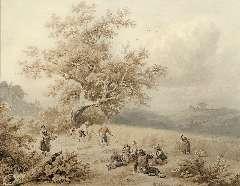 Koekkoek B.C. - Erntezeit, Tinte und Gouache auf Papier 19,6 x 24,9 cm, signiert r.v.g.M.und datiert 1847