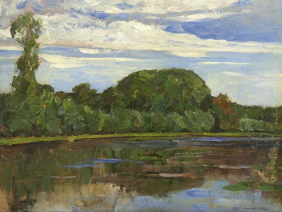 Mondriaan P.C. - Bauernhof Geinrust hinter Baumreihe an der Gein, Öl auf Leinen 47,7 x 63,8 cm, signiert r.u.und zu datieren um 1905-1906
