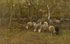Mauve A. - Unter den Bäumen, Öl auf Leinen 51,6 x 81,2 cm, signiert l.u.