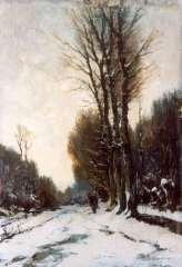 Mondriaan F.H. - Beschneiter Waldpfad mit Figur, Öl auf Holzfaserplatte 37,7 x 26,3 cm, signiert r.u.