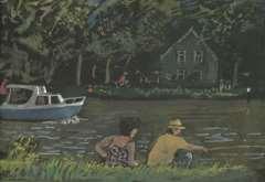 Kamerlingh Onnes H.H. - Sommertag am Wasser, Aquarell auf Papier 22,7 x 31,2 cm, datiert '75