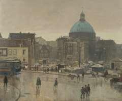 Vreedenburgh C. - Prins Hendrikkade, Amsterdam, mit Strohmarkt und der Ronde Lutherse Kerk, Öl auf Leinen 59.3 x 72.8 cm, signed r.u.und dated 1931