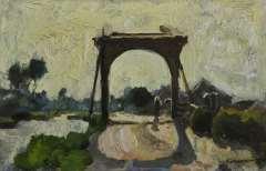 Vreedenburgh C. - Zugbrücke in Noorden, Öl auf Holzfaserplatte 16 x 24,7 cm, signiert u.r.und zu datieren um 1902-1906