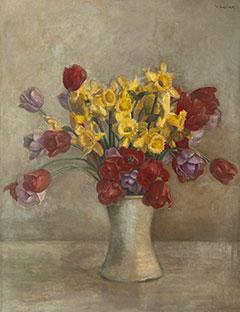 Vilmos Huszár - Stilleben mit Tulpen und Narzissen, Öl auf Leinen 68,1 x 52,9 cm, signiert u.r.
