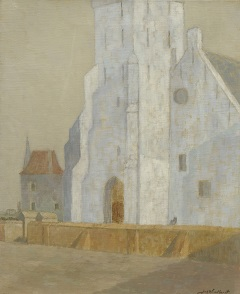 Windhorst J.C. - Die Andreaskirche, Katwijk aan Zee, Öl auf Leinen 50,6 x 41,5 cm, signiert r.u.