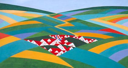 Louber L.M. - Dorf, Öl auf Leinen 46,1 x 86 cm, gesigneerd l.o. met initialenund datiert '22